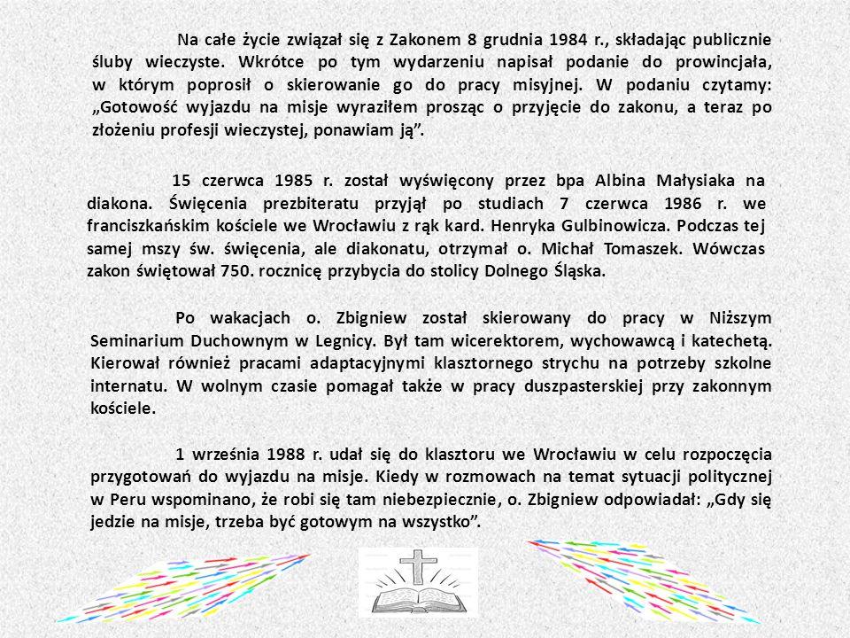 Po wakacjach o.Zbigniew został skierowany do pracy w Niższym Seminarium Duchownym w Legnicy.