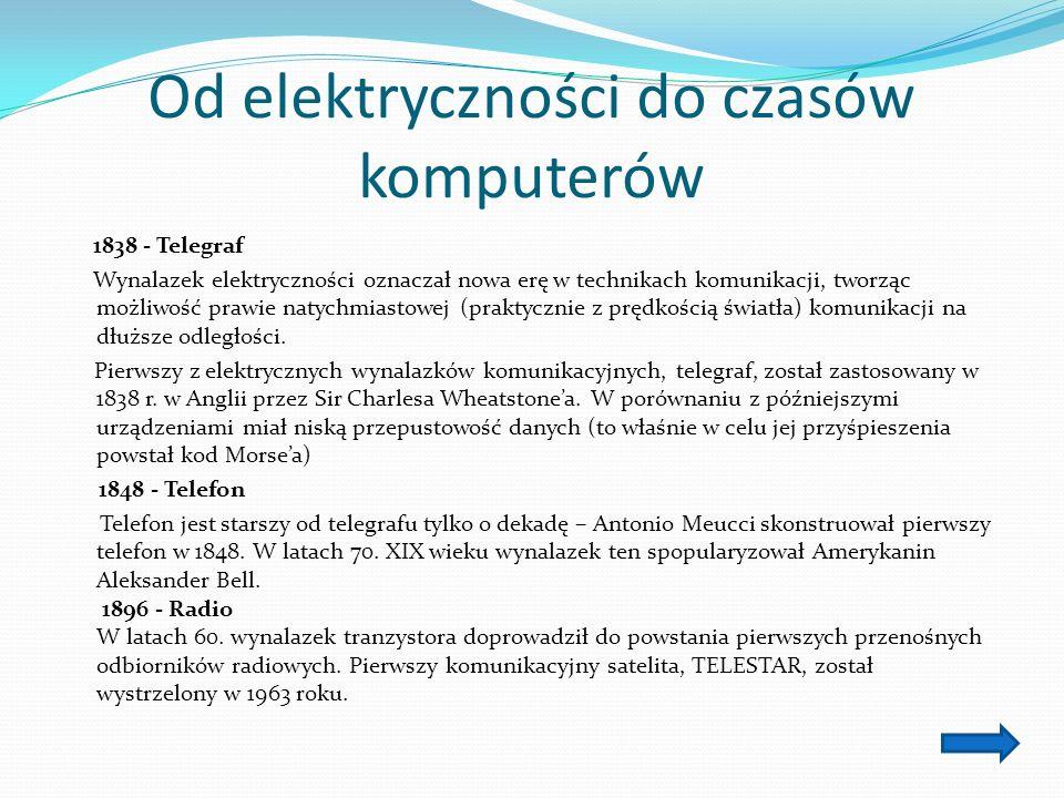 Od elektryczności do czasów komputerów 1838 - Telegraf Wynalazek elektryczności oznaczał nowa erę w technikach komunikacji, tworząc możliwość prawie natychmiastowej (praktycznie z prędkością światła) komunikacji na dłuższe odległości.
