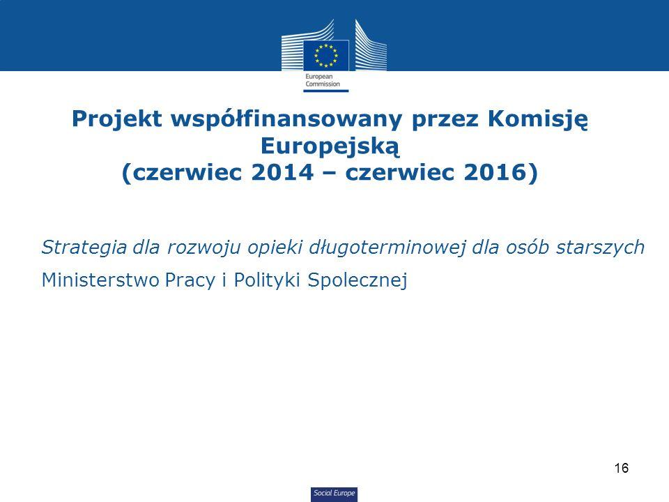 Social Europe Strategia dla rozwoju opieki długoterminowej dla osób starszych Ministerstwo Pracy i Polityki Spolecznej Projekt współfinansowany przez Komisję Europejską (czerwiec 2014 – czerwiec 2016) 16