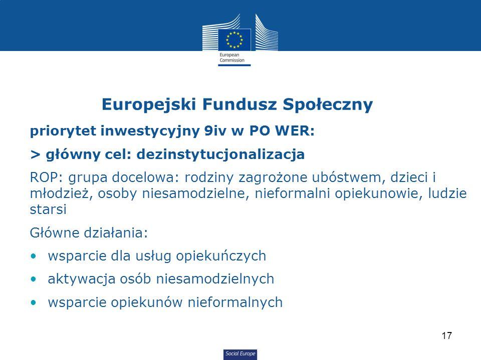 Social Europe priorytet inwestycyjny 9iv w PO WER: > główny cel: dezinstytucjonalizacja ROP: grupa docelowa: rodziny zagrożone ubóstwem, dzieci i młodzież, osoby niesamodzielne, nieformalni opiekunowie, ludzie starsi Główne działania: wsparcie dla usług opiekuńczych aktywacja osób niesamodzielnych wsparcie opiekunów nieformalnych Europejski Fundusz Społeczny 17