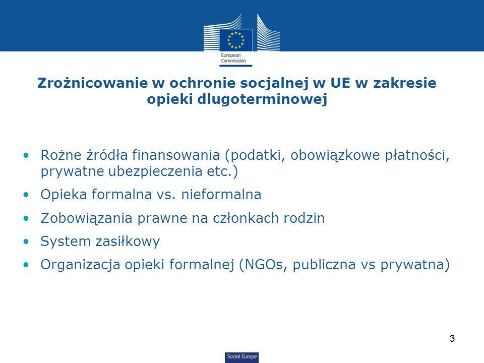 Social Europe Rożne źródła finansowania (podatki, obowiązkowe płatności, prywatne ubezpieczenia etc.) Opieka formalna vs.