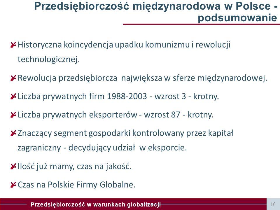 Przedsiębiorczość w warunkach globalizacji 16 Przedsiębiorczość międzynarodowa w Polsce - podsumowanie Historyczna koincydencja upadku komunizmu i rewolucji technologicznej.