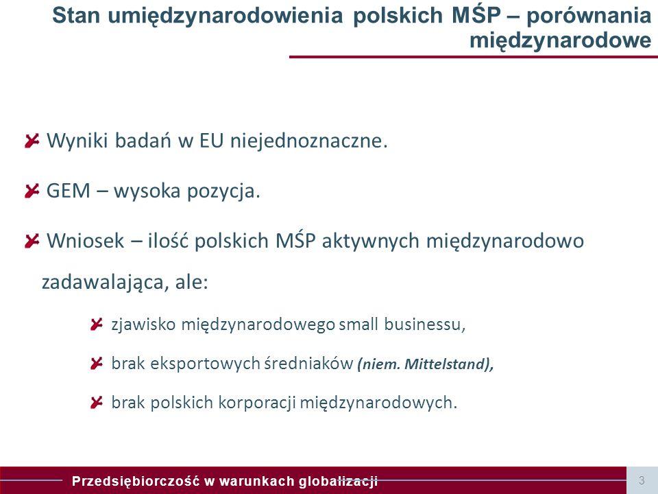 Przedsiębiorczość w warunkach globalizacji Stan umiędzynarodowienia polskich MŚP – porównania międzynarodowe Wyniki badań w EU niejednoznaczne.
