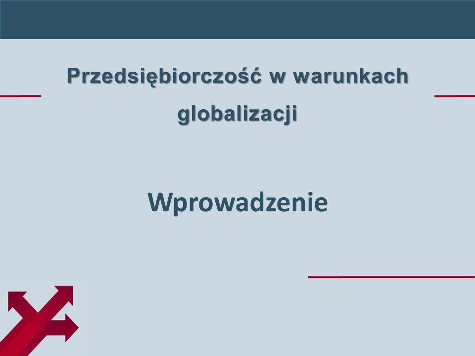 Przedsiębiorczość w warunkach globalizacji Wprowadzenie