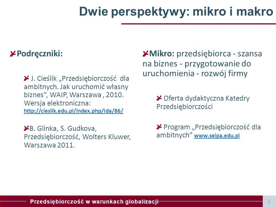 Przedsiębiorczość w warunkach globalizacji 3 Dwie perspektywy: mikro i makro Mikro: Jak uruchomić i rozwinąć własny biznes (indywidualnie bądź zespołowo).