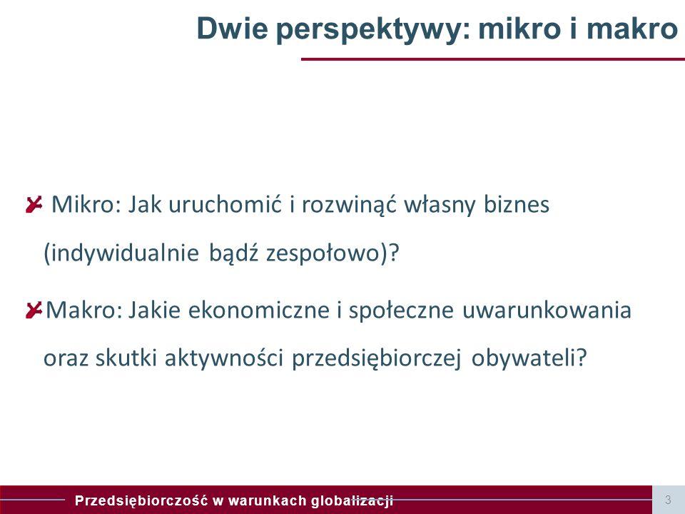 Przedsiębiorczość w warunkach globalizacji 3 Dwie perspektywy: mikro i makro Mikro: Jak uruchomić i rozwinąć własny biznes (indywidualnie bądź zespoło