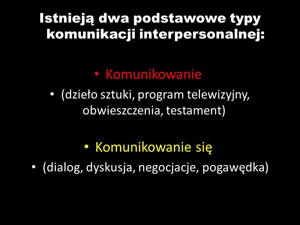 Istnieją dwa podstawowe typy komunikacji interpersonalnej: Komunikowanie (dzieło sztuki, program telewizyjny, obwieszczenia, testament) Komunikowanie