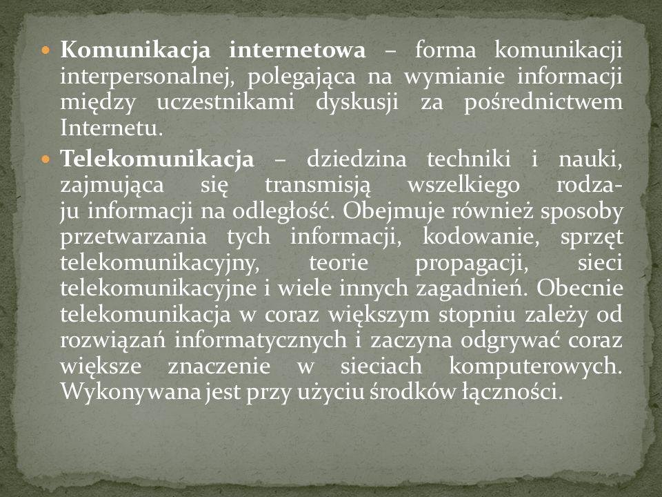 Komunikacja internetowa – forma komunikacji interpersonalnej, polegająca na wymianie informacji między uczestnikami dyskusji za pośrednictwem Internet
