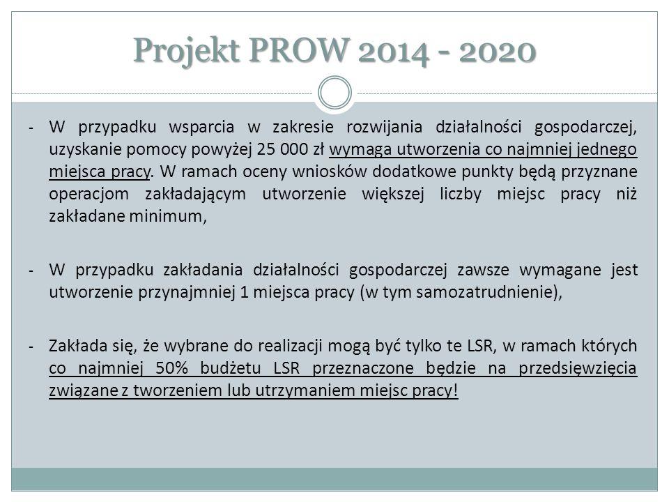 Projekt PROW 2014 - 2020 - W przypadku wsparcia w zakresie rozwijania działalności gospodarczej, uzyskanie pomocy powyżej 25 000 zł wymaga utworzenia