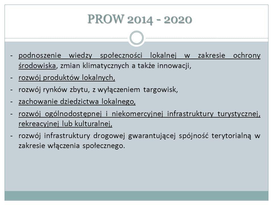 PROW 2014 - 2020 -podnoszenie wiedzy społeczności lokalnej w zakresie ochrony środowiska, zmian klimatycznych a także innowacji, -rozwój produktów lok