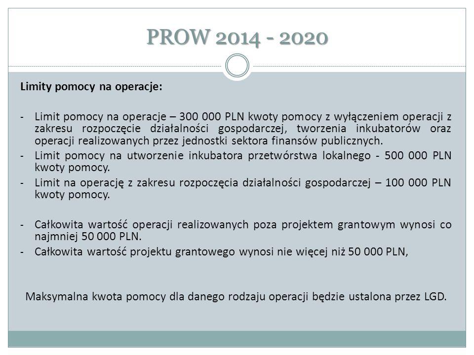 PROW 2014 - 2020 Wysokość pomocy: - do 100% kosztów kwalifikowalnych w przypadku operacji polegających na rozpoczęciu prowadzenia działalności gospodarczej, - 50% kosztów kwalifikowalnych w przypadku rozwoju działalności gospodarczej, - 63,63% w przypadku operacji realizowanych przez jednostki sektora finansów publicznych, - 80% w przypadku pozostałych operacji.