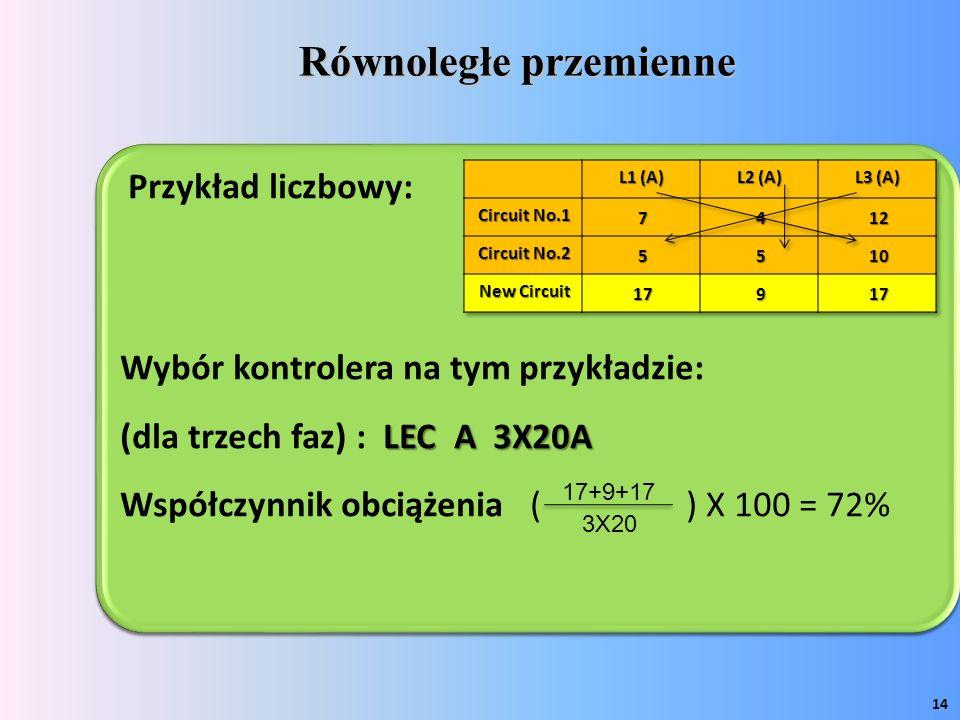 Równoległe przemienne 14 Przykład liczbowy: Wybór kontrolera na tym przykładzie: LEC A 3X20A (dla trzech faz) : LEC A 3X20A Współczynnik obciążenia ( ) X 100 = 72% Przykład liczbowy: Wybór kontrolera na tym przykładzie: LEC A 3X20A (dla trzech faz) : LEC A 3X20A Współczynnik obciążenia ( ) X 100 = 72% 17+9+17 3X20