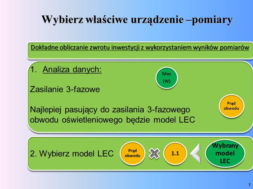 Wybierz właściwe urządzenie –pomiary Prąd obwodu 1.1 Wybrany model LEC 1.Analiza danych: Zasilanie 3-fazowe Najlepiej pasujący do zasilania 3-fazowego obwodu oświetleniowego będzie model LEC 2.