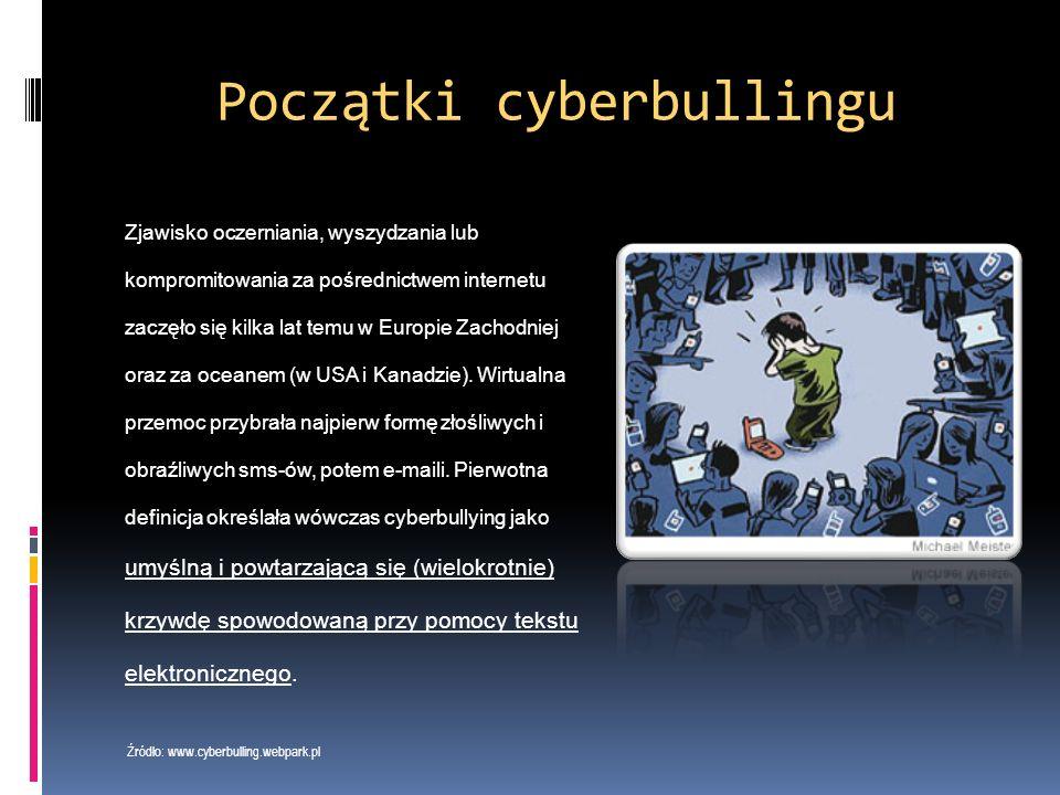 Do działań określanych jako cyberprzemoc zalicza się m.in:  wyzywanie, straszenie poniżanie kogoś w Internecie lub przy użyciu telefonu  robienie komuś zdjęć lub rejestrowanie filmów bez jego zgody  publikowanie w Internecie lub rozsyłanie telefonem zdjęć, filmów lub tekstów, które kogoś obrażają lub ośmieszają  podszywane się pod kogoś w Sieci Źródło: www.cyberprzemoc.pl