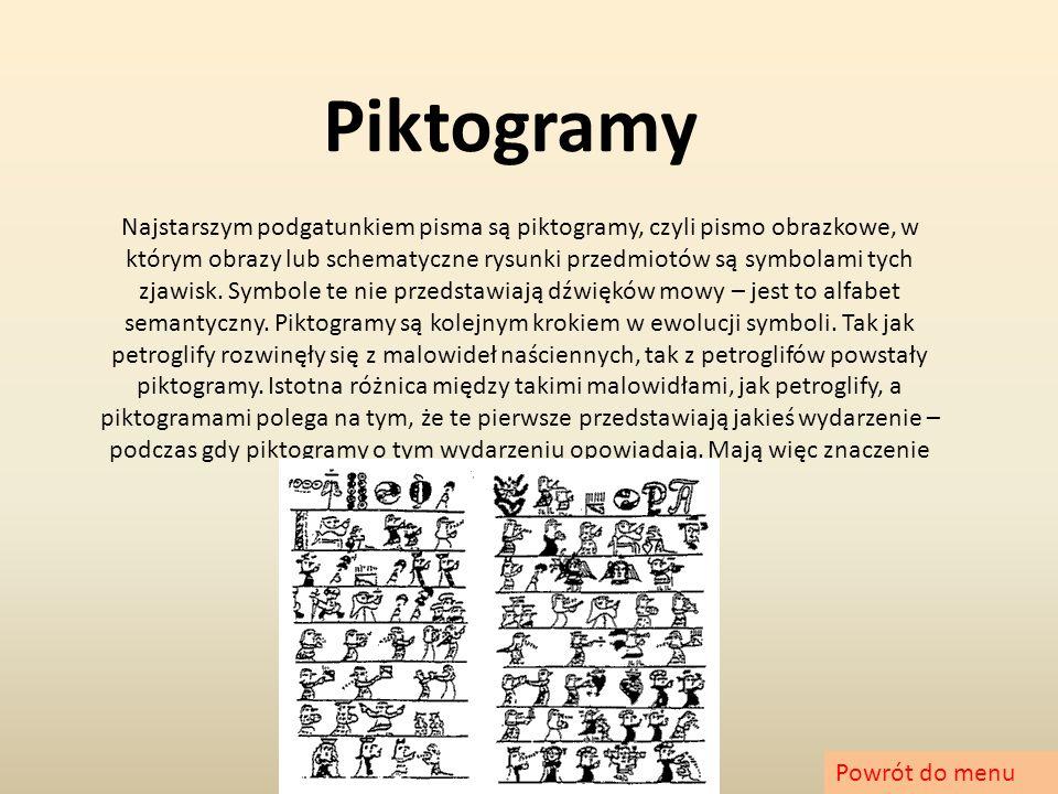 Piktogramy Najstarszym podgatunkiem pisma są piktogramy, czyli pismo obrazkowe, w którym obrazy lub schematyczne rysunki przedmiotów są symbolami tych
