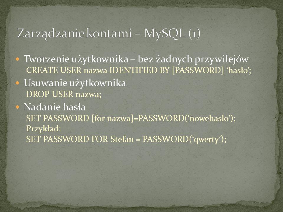 Tworzenie użytkownika – bez żadnych przywilejów CREATE USER nazwa IDENTIFIED BY [PASSWORD] 'hasło'; Usuwanie użytkownika DROP USER nazwa; Nadanie hasła SET PASSWORD [for nazwa]=PASSWORD('nowehaslo'); Przykład: SET PASSWORD FOR Stefan = PASSWORD('qwerty');
