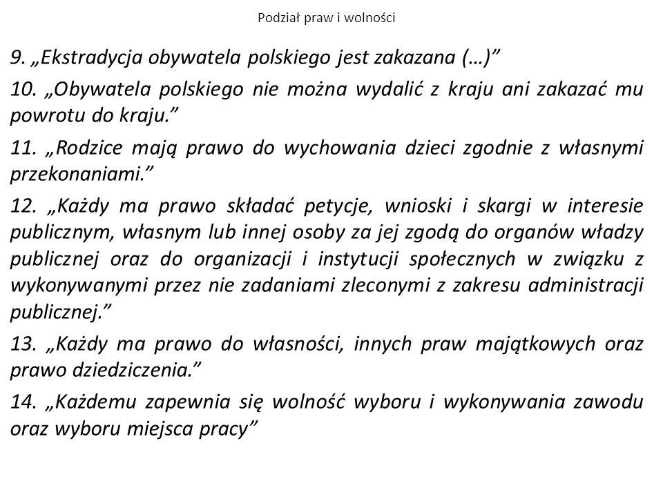 """Podział praw i wolności 9. """"Ekstradycja obywatela polskiego jest zakazana (…)"""" 10. """"Obywatela polskiego nie można wydalić z kraju ani zakazać mu powro"""