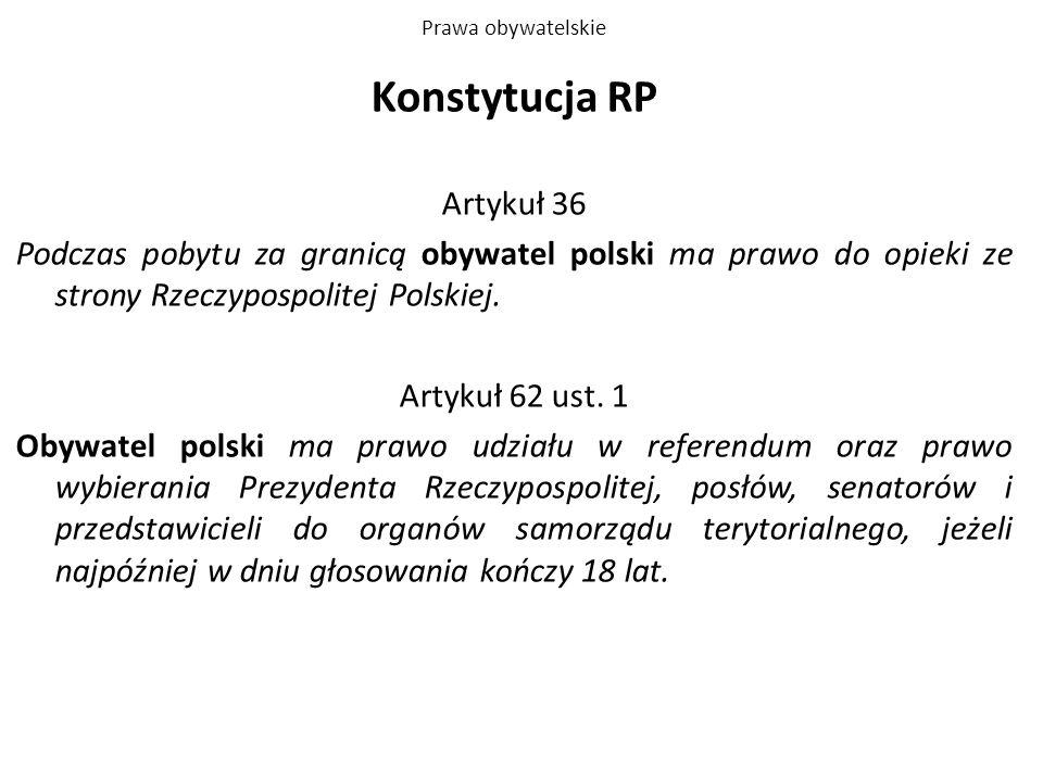 Prawa obywatelskie Konstytucja RP Artykuł 36 Podczas pobytu za granicą obywatel polski ma prawo do opieki ze strony Rzeczypospolitej Polskiej. Artykuł