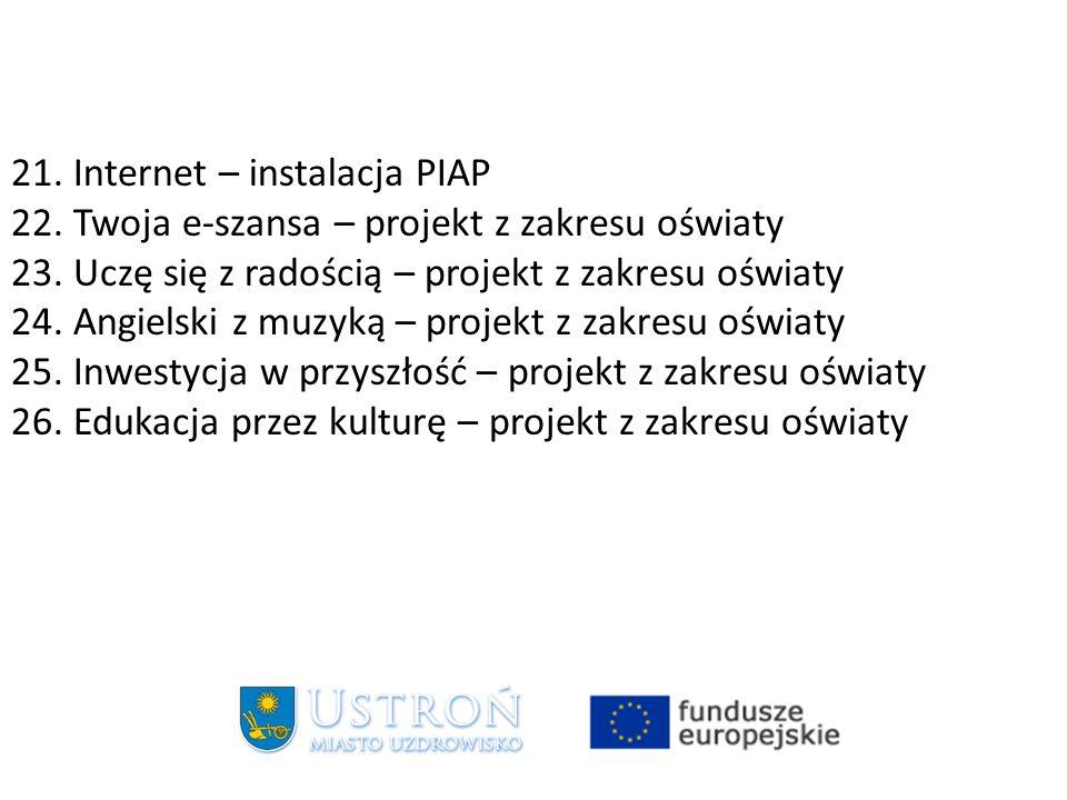 21. Internet – instalacja PIAP 22. Twoja e-szansa – projekt z zakresu oświaty 23.