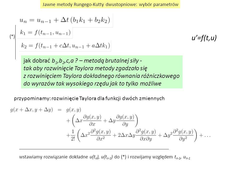Jawne metody Rungego-Kutty dwustopniowe: wybór parametrów jak dobrać b 1,b 2,c,a ? – metodą brutalnej siły - tak aby rozwinięcie Taylora metody zgadza