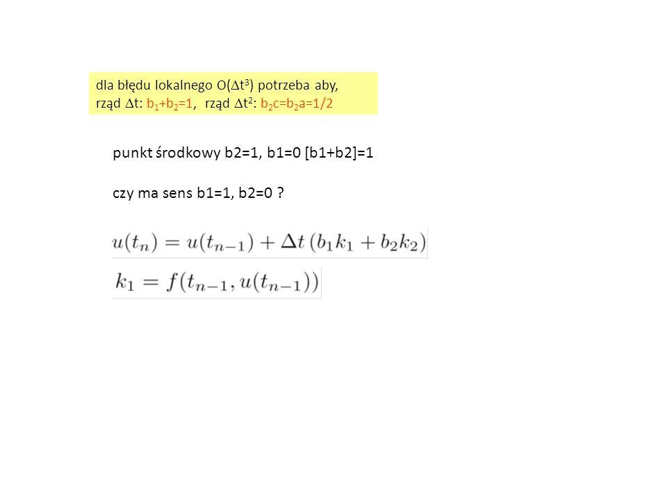 punkt środkowy b2=1, b1=0 [b1+b2]=1 czy ma sens b1=1, b2=0 ? dla błędu lokalnego O(  t 3 ) potrzeba aby, rząd  t: b 1 +b 2 =1, rząd  t 2 : b 2 c=b