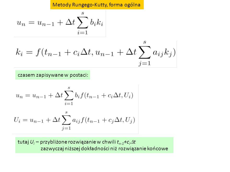 czasem zapisywane w postaci: tutaj U i – przybliżone rozwiązanie w chwili t n-1 +c i  t zazwyczaj niższej dokładności niż rozwiązanie końcowe Metody