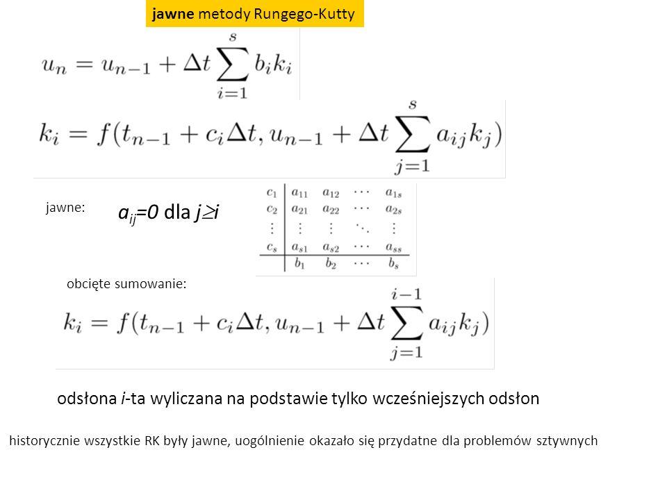 jawne metody Rungego-Kutty a ij =0 dla j  i jawne: obcięte sumowanie: odsłona i-ta wyliczana na podstawie tylko wcześniejszych odsłon historycznie ws