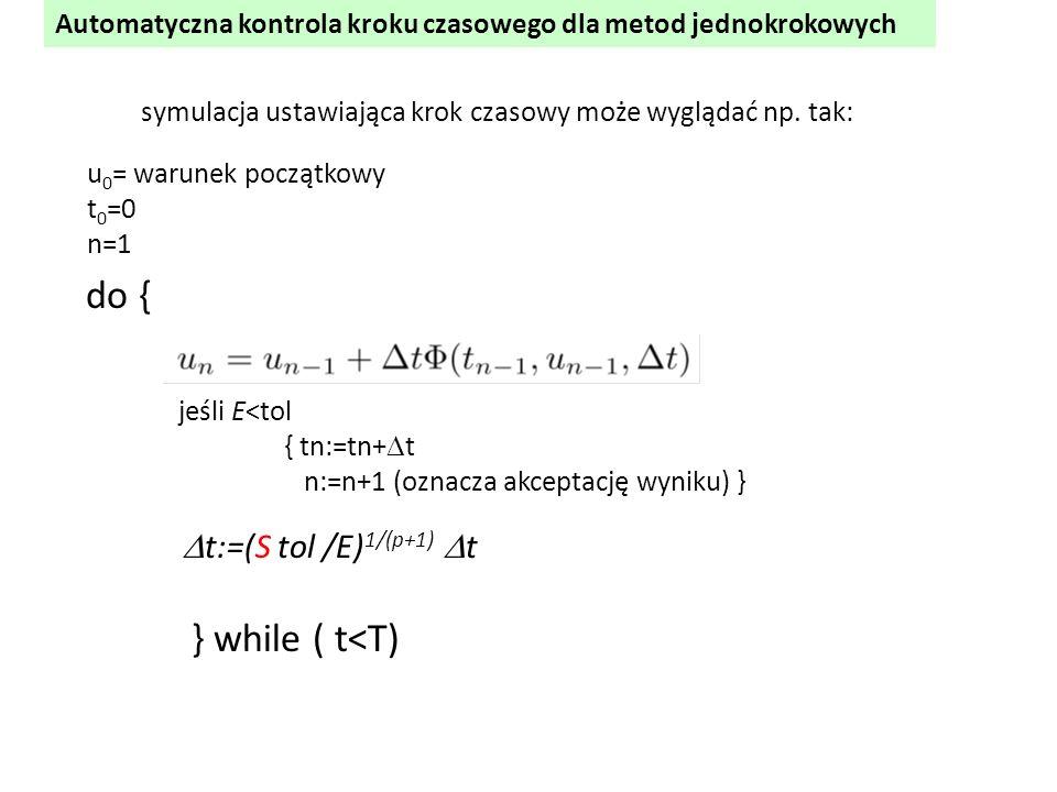 Automatyczna kontrola kroku czasowego dla metod jednokrokowych jeśli E<tol { tn:=tn+  t n:=n+1 (oznacza akceptację wyniku) }  t:=(S tol /E) 1/(p+1)
