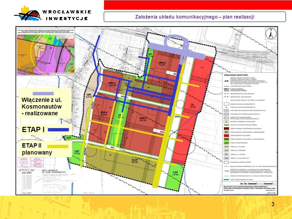 3 Założenia układu komunikacyjnego – plan realizacji ETAP II planowany Włączenie z ul. Kosmonautów - realizowane ETAP I