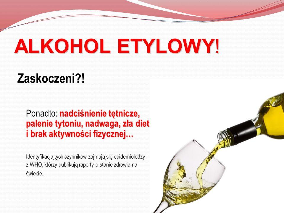 ALKOHOL ETYLOWY! Zaskoczeni?! nadciśnienie tętnicze, palenie tytoniu, nadwaga, zła dieta i brak aktywności fizycznej… Ponadto: nadciśnienie tętnicze,