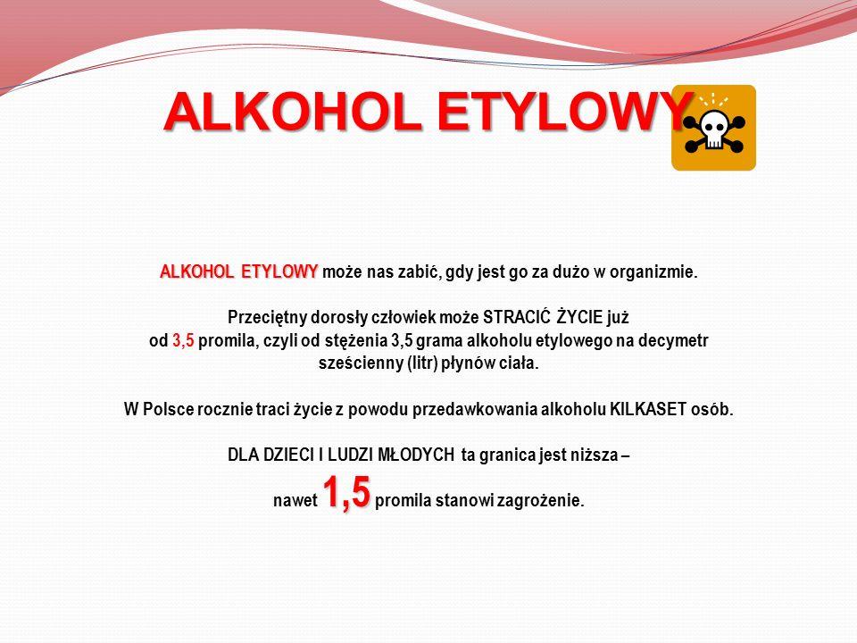 ALKOHOL ETYLOWY ALKOHOL ETYLOWY może nas zabić, gdy jest go za dużo w organizmie. Przeciętny dorosły człowiek może STRACIĆ ŻYCIE już od 3,5 promila, c