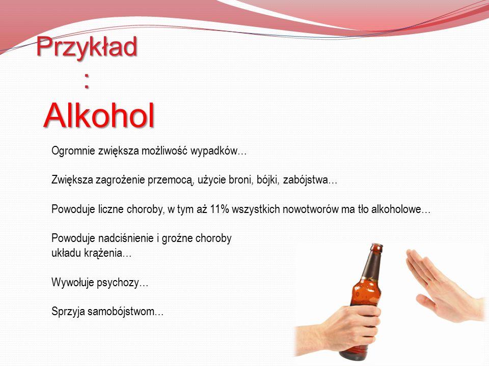 Przykład : Alkohol Ogromnie zwiększa możliwość wypadków… Zwiększa zagrożenie przemocą, użycie broni, bójki, zabójstwa… Powoduje liczne choroby, w tym