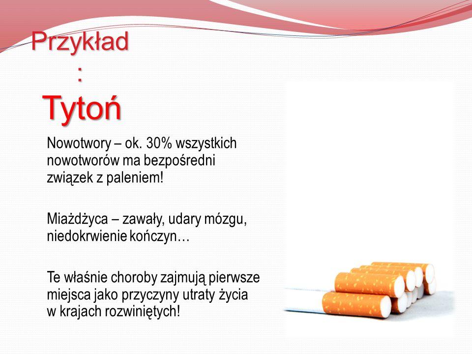 Przykład : Tytoń Nowotwory – ok. 30% wszystkich nowotworów ma bezpośredni związek z paleniem! Miażdżyca – zawały, udary mózgu, niedokrwienie kończyn…