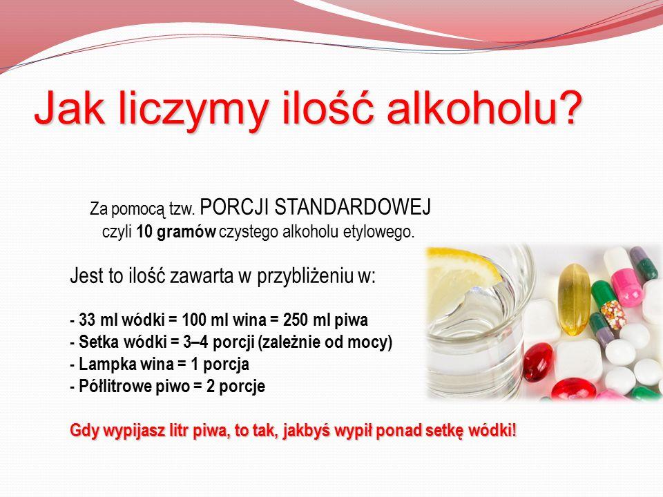 Jak liczymy ilość alkoholu? Za pomocą tzw. PORCJI STANDARDOWEJ czyli 10 gramów czystego alkoholu etylowego. Jest to ilość zawarta w przybliżeniu w: -