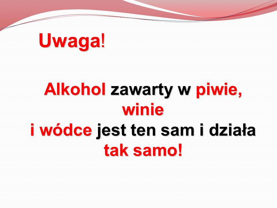 Alkohol zawarty w piwie, winie i wódce jest ten sam i działa tak samo! Uwaga!
