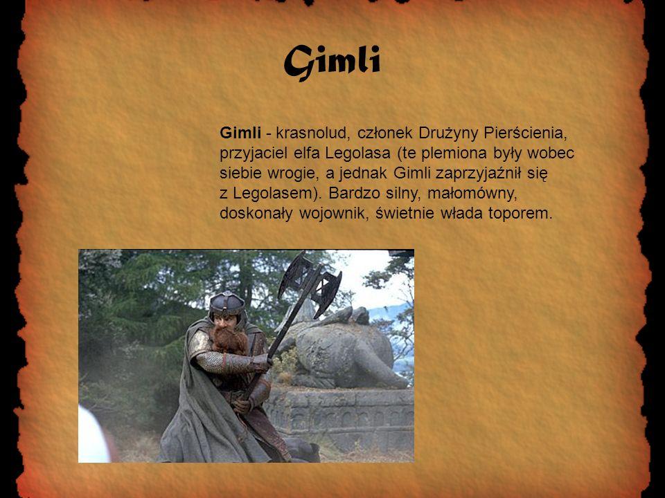 Gimli Gimli - krasnolud, członek Drużyny Pierścienia, przyjaciel elfa Legolasa (te plemiona były wobec siebie wrogie, a jednak Gimli zaprzyjaźnił się