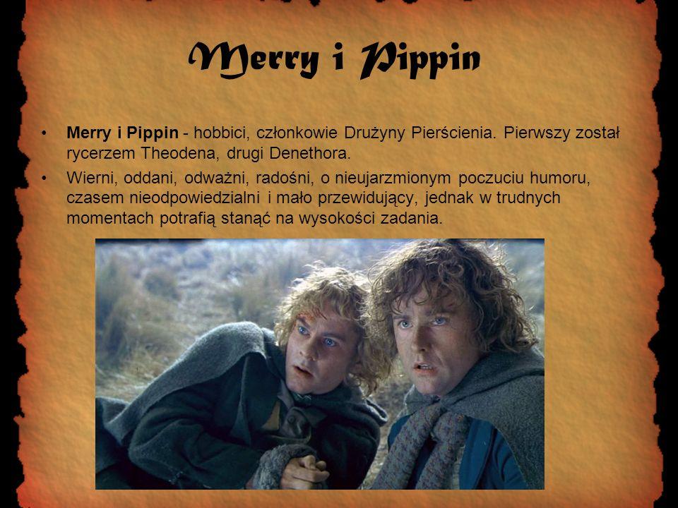 Merry i Pippin Merry i Pippin - hobbici, członkowie Drużyny Pierścienia. Pierwszy został rycerzem Theodena, drugi Denethora. Wierni, oddani, odważni,
