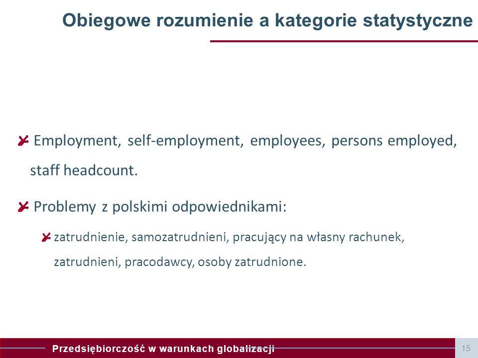 Przedsiębiorczość w warunkach globalizacji Obiegowe rozumienie a kategorie statystyczne Employment, self-employment, employees, persons employed, staf