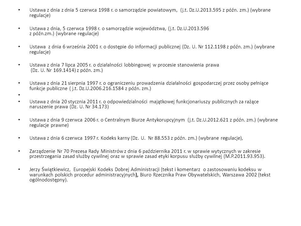 Ustawa z dnia z dnia 5 czerwca 1998 r. o samorządzie powiatowym, (j.t. Dz.U.2013.595 z późn. zm.) (wybrane regulacje) Ustawa z dnia, 5 czerwca 1998 r.