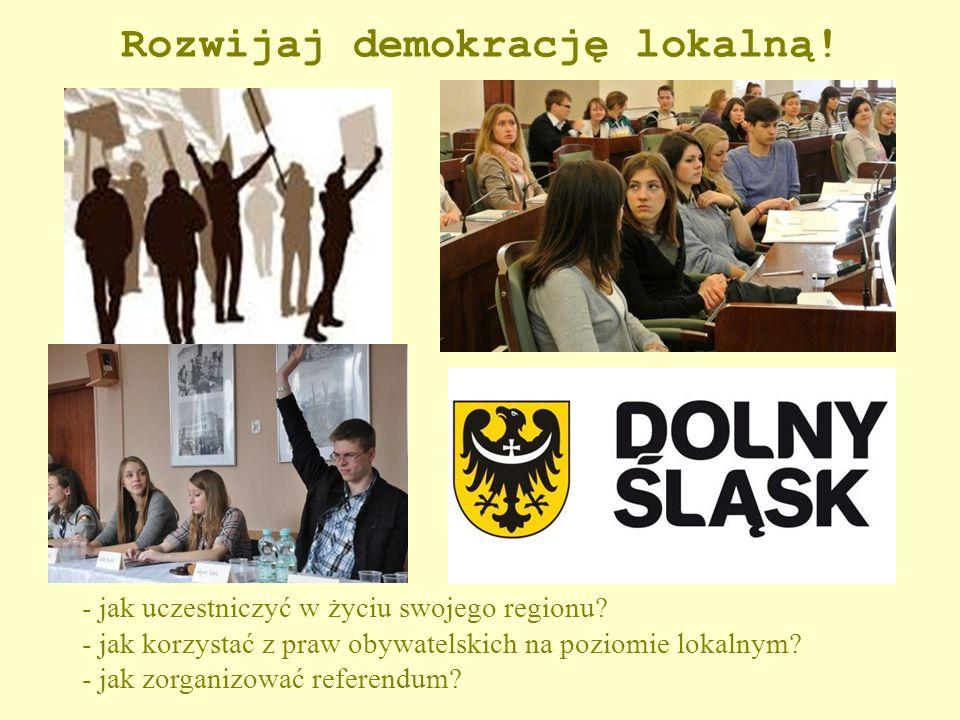 Rozwijaj demokrację lokalną! - jak uczestniczyć w życiu swojego regionu? - jak korzystać z praw obywatelskich na poziomie lokalnym? - jak zorganizować