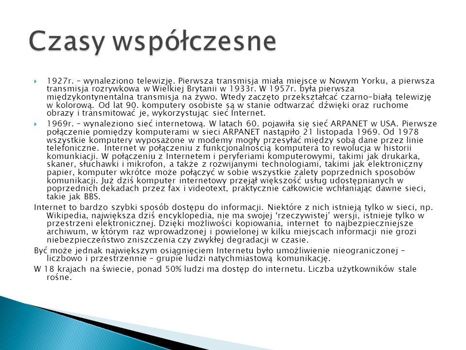  http://histmag.org/Komunikacja-od-mowy- do-Internetu-744 http://histmag.org/Komunikacja-od-mowy- do-Internetu-744  http://pl.wikipedia.org/wiki/Komunikacja http://pl.wikipedia.org/wiki/Komunikacja Prezentację przygotowała Patrycja Nasiadka