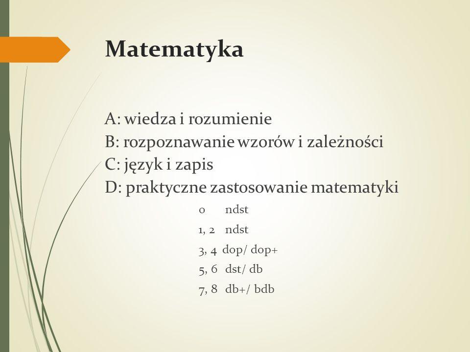 Matematyka A: wiedza i rozumienie B: rozpoznawanie wzorów i zależności C: język i zapis D: praktyczne zastosowanie matematyki 0 ndst 1, 2 ndst 3, 4dop/ dop+ 5, 6 dst/ db 7, 8 db+/ bdb