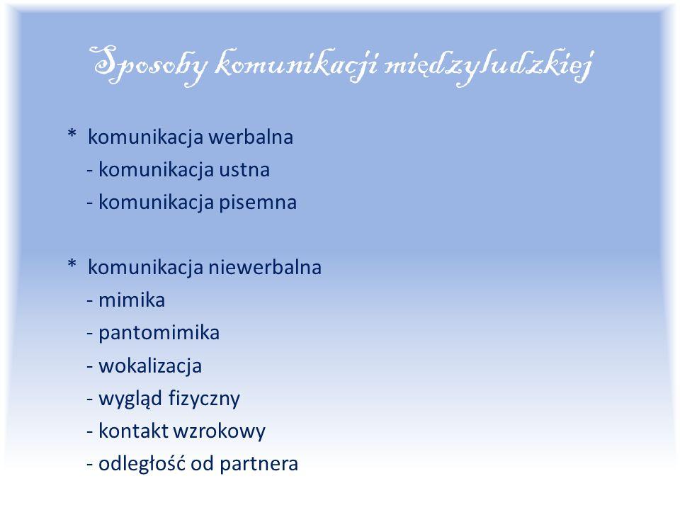 Sposoby komunikacji mi ę dzyludzkiej * komunikacja werbalna - komunikacja ustna - komunikacja pisemna * komunikacja niewerbalna - mimika - pantomimika - wokalizacja - wygląd fizyczny - kontakt wzrokowy - odległość od partnera