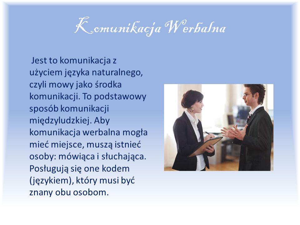 Komunikacja Werbalna Jest to komunikacja z użyciem języka naturalnego, czyli mowy jako środka komunikacji.