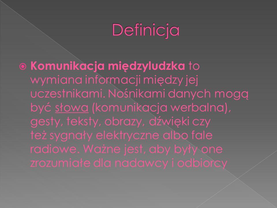  Komunikacja międzyludzka to wymiana informacji między jej uczestnikami. Nośnikami danych mogą być słowa (komunikacja werbalna), gesty, teksty, obraz
