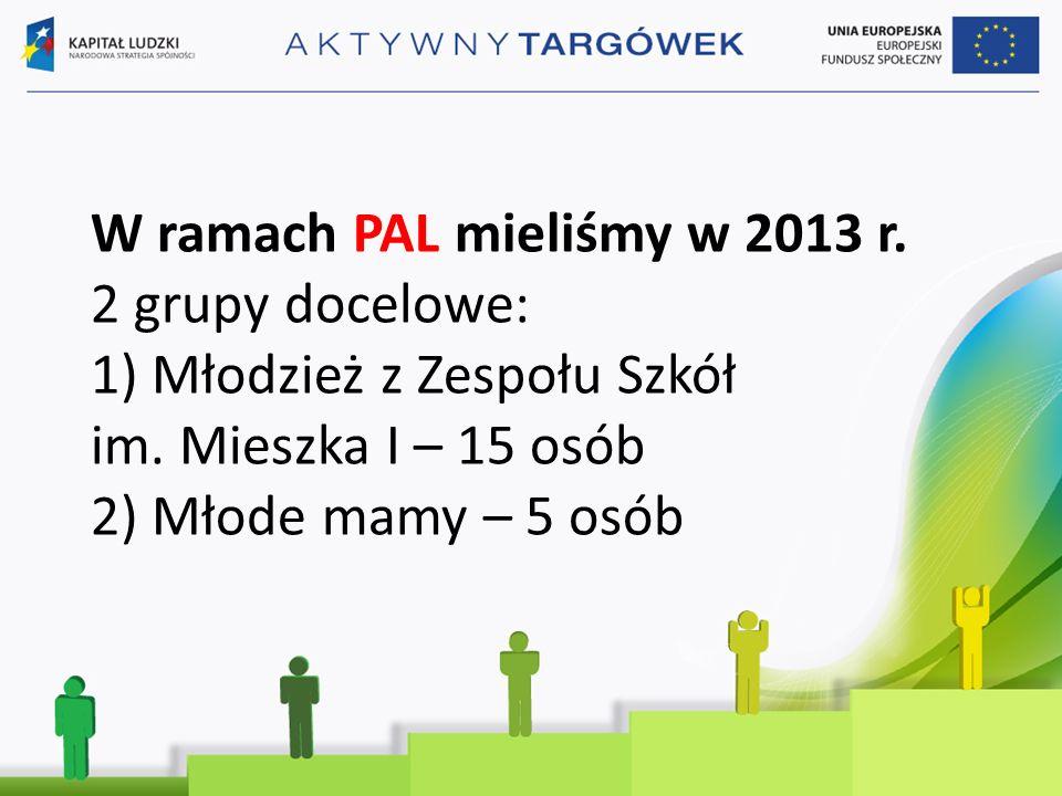 W ramach PAL mieliśmy w 2013 r. 2 grupy docelowe: 1) Młodzież z Zespołu Szkół im.
