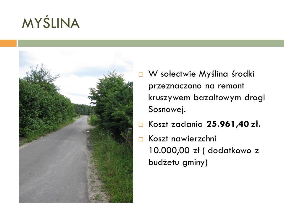 MYŚLINA  W sołectwie Myślina środki przeznaczono na remont kruszywem bazaltowym drogi Sosnowej.