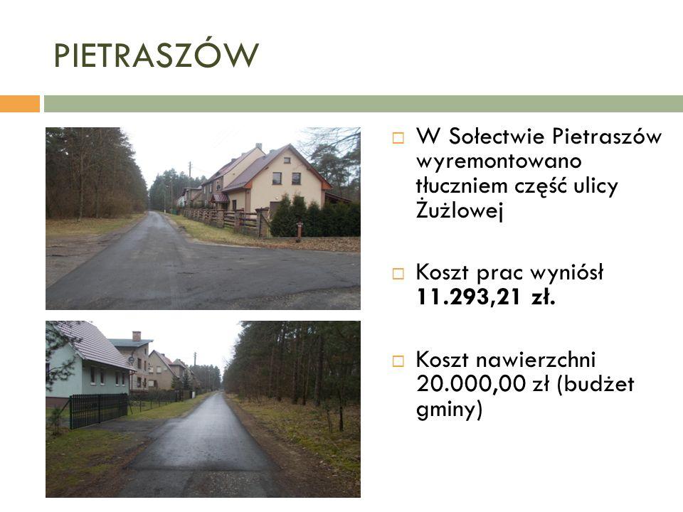 PIETRASZÓW  W Sołectwie Pietraszów wyremontowano tłuczniem część ulicy Żużlowej  Koszt prac wyniósł 11.293,21 zł.