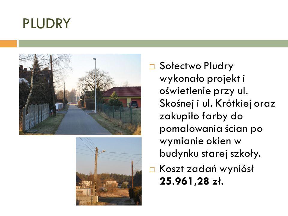 PLUDRY  Sołectwo Pludry wykonało projekt i oświetlenie przy ul.