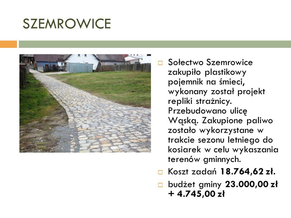 SZEMROWICE  Sołectwo Szemrowice zakupiło plastikowy pojemnik na śmieci, wykonany został projekt repliki strażnicy.